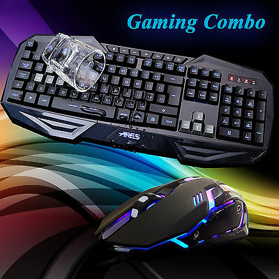 ARES K3 7 LED Backlit Gaming Keyboard M1 Optical 2400DPI USB Wired Mouse Combo