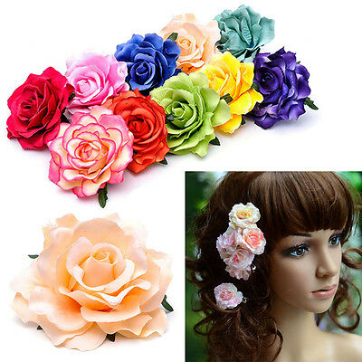 Women Rose Flower Hairpin Brooch Wedding Party Hair Clip Tiara Hair Accessories
