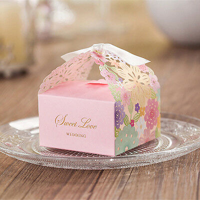 1/10/50/100Pcs Sweet Wedding Party Favor Paper Candy Gift Boxes With Ribbon