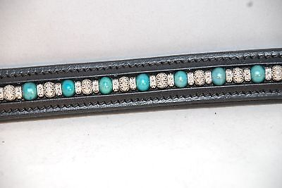 """16"""" Black Leather Browband w/Teal Pearls, Metal Beads & Clear Crystal Rondells"""