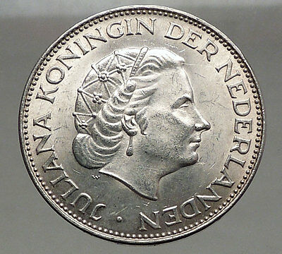 1962 Netherlands Kingdom Queen JULIANA 2½ Gulden Authentic Silver Coin i56604