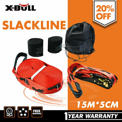 X-BULL Slackline Base Line 15m x 5cm Play Line  Heavy Duty High Quality
