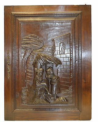 Hand Carved Antique Cabinet Door - Medieval Romantic Scene Panel Wall Plaque