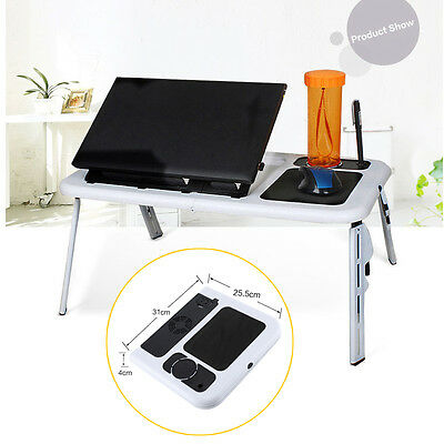 Portable Laptop Desk With USB Cooling Fans Stand Foldable Table Bed TV Tray Gift