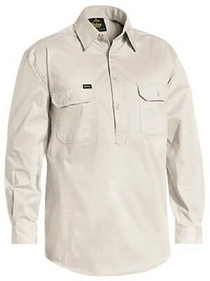 NEW BISLEY Closed Front Lightweight Drill Work Shirt Long Sleeve SAND BSC6820