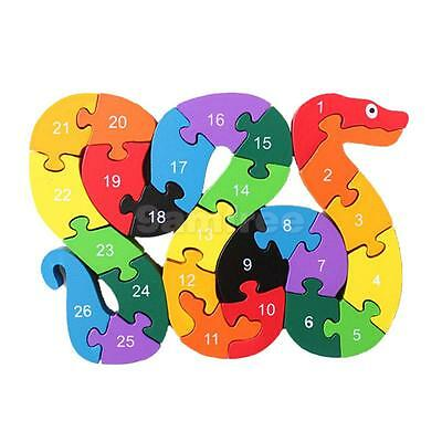 Funny Wooden Blocks Snake Kids Child Educational Toy Alphabet Puzzle Jigsaw