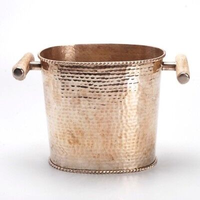 Silver-Plate And Faux Antler Handle Wine Bucket/Wine Cooler For M. Fredrick