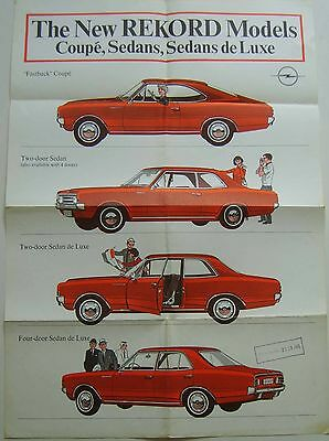 Opel Rekord C 1966-67 Original folded Showroom Poster 2-dr 4-dr De Luxe Coupe