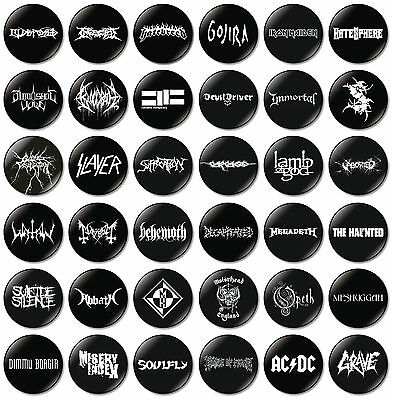 6 x Heavy Metal Band 32mm BUTTON PIN BADGES Death Thrash Black Slayer Opeth ACDC