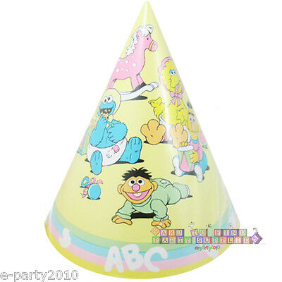 SESAME STREET PASTEL CONE HATS 8 Vintage 1st Birthday Party Supplies Favors