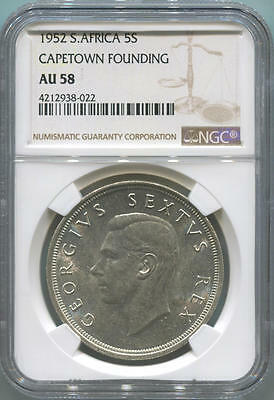 1952 South Africa 5 Shillings. Capetown Founding. NGC AU58