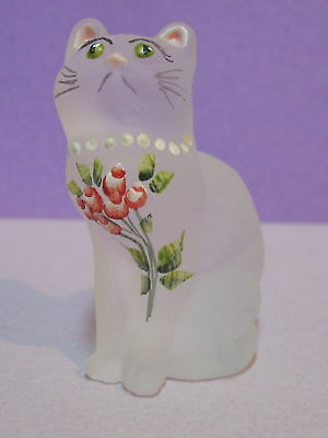 Mosser Glass Kitten Cat W / Red Roses Wearing Necklace ~ Green Eyes
