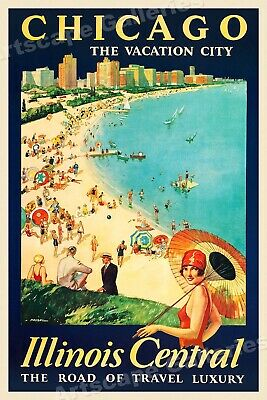 1929 Chicago Vacation City Vintage Style Travel Poster - 24x36