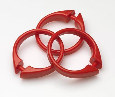 Plastic Shower Curtain Rings/Hooks: 12 Piece Set, Snap Closure, Red