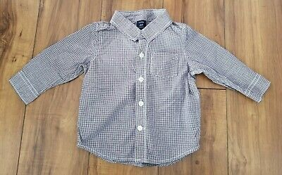 BABY GAP Red Navy Check PLAID Cotton Dress Shirt TODDLER BOYS SZ 12-18 MOS EUC