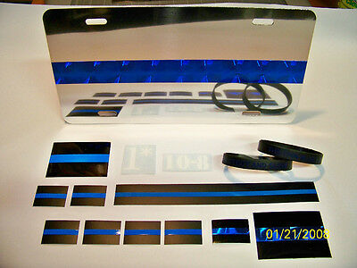 Thin Blue Line SUPER PACK! License Plate, bracelets, & many decals. SHIPS FREE!