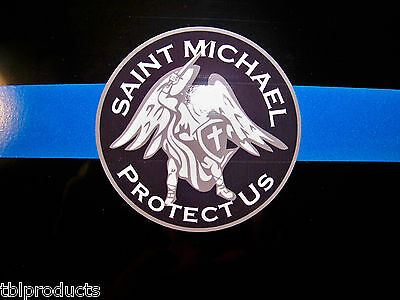 """Thin Blue Line """"Reflective Line""""  Saint Michael License Plate- & FREE SHIPPING!"""