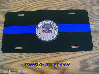 "Thin Blue Line ""Craft Punisher"" License Plate - 3M Scotchlite reflective line"