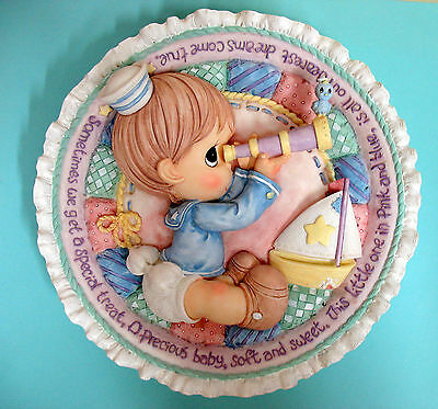 Precious Moments Baby Sailor Boy W/ Telescope 3-D Plate Plaque ~ Personalize Nos