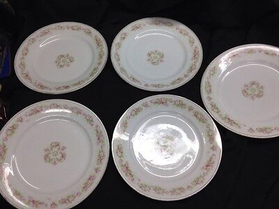 Vienna A-P China Austria 5 Dinner Plates Pink Roses & White Flowers
