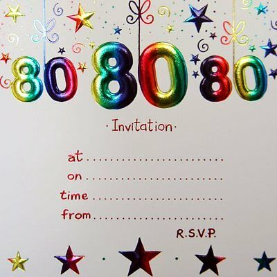 80th BIRTHDAY PARTY INVITATIONS INVITES 10 PACK