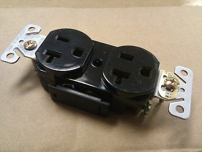 (10 pc) Standard Duplex Receptacles 20 Amp Black 20A Self Grounding Commerical