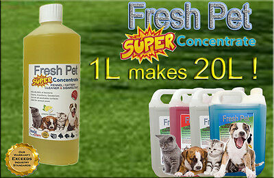 1L Super Concentrate Fresh Pet Kennel / Cattery Cleaner 1L Makes 20L! Lemon