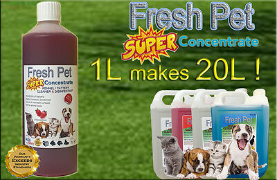1L Super Concentrate Fresh Pet Kennel / Cattery Cleaner 1L Makes 20L! Strawberry