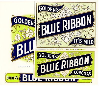 Cigar Box Label Vintage Original C1930S Inner Blue Ribbon Typography With Tags