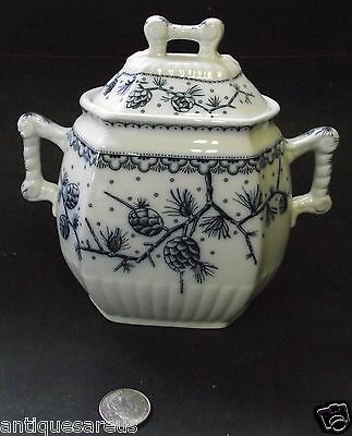 "Antique Large 7"" Oxford Grindly Sugar Bowl  Deep Blues With Ivory Background"