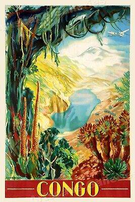 1930s Congo Africa Vintage Style Jungle Travel Poster - 24x36