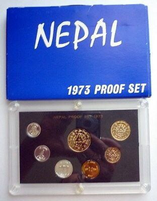 1973 ( Vs2030 ) Nepal - Official Proof Set (7) - Paisa & Rupee - Orig. Pkg - Ps6