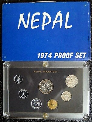 1974 ( Vs2031 ) Nepal - Official Proof Set (7) - Paisa & Rupee - Orig. Pkg - Ps7