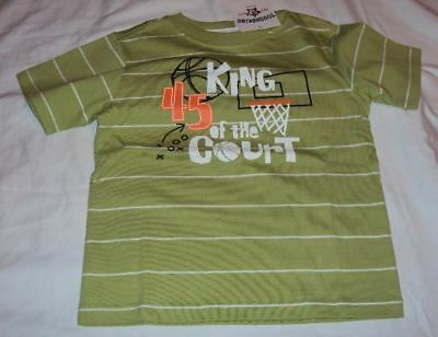 Toddler Boys Toughskins Brand Green Basketball t-shirt King of Court Size 3T 4T