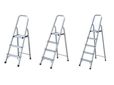 Hyfive Aluminium Step Ladder With Non Slip Treads Lightweight Aluminium EN 131