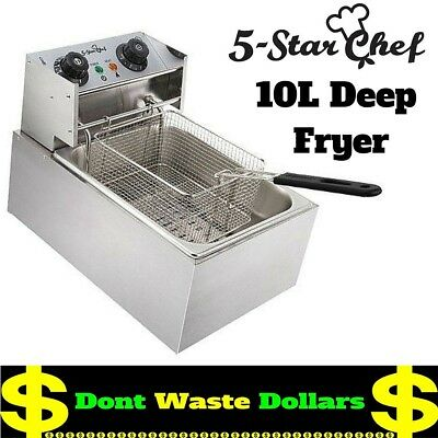 5 Star Chef Industrial Professional Stainless Steel 10L Deep Fryer w One Basket