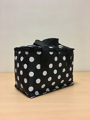 Cool Bag Black Polka Dot Retro Spotty Insulated Pack Lunch Bags Picnic Food  C8