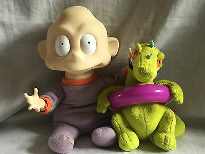 free post 2 RARE RUGRATS PLUSH FIGURES VINTAGE BABY DIL PICKLES & REPTAR