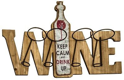 Rustic Vintage Wooden Wood WINE Bottle Holder Wall Art KEEP CALM AND DRINK UP