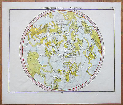 Flamsteed Original Handcolored Celestial Map Hemisphere Austral Astronomy - 1790