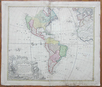 Homann Original Map North and South America Americae Mappa Generalis - 1746