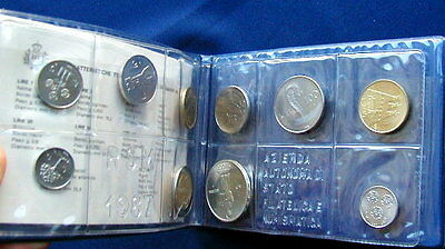 1987 Italy S Marino complete official set coins UNC with silver in official box