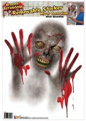Bloody Zombie Mirror Bathroom Sticker Halloween Decoration Prop NEW