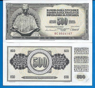 Yugoslavia P-91 Five Hundred Dinara Tesla Year 1981 Uncirculated Banknote