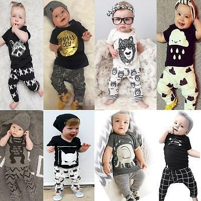 2Pcs Newborn Baby Boys Girls Toddler T-Shirt Tops Clothing + Pants Outfits Set