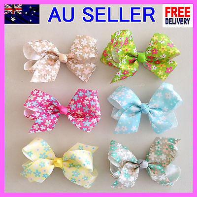 """6 Colors NEW 3.5"""" Hair Clip Alligator Baby Toddler Girl Kids Flowers Ribbon Bow"""