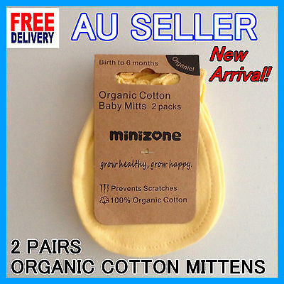 NEW 2 Pairs 100% Organic Cotton Baby Newborn Mittens Gloves for Boys and Girls