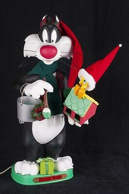 Animated Sylvester Cat Tweety Bird Lights Up Christmas Motionette SEE VIDEO