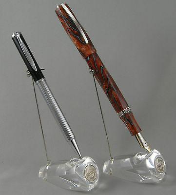 2 Visconti Clear Lucite 2-way 1-Pen Display Holders - New