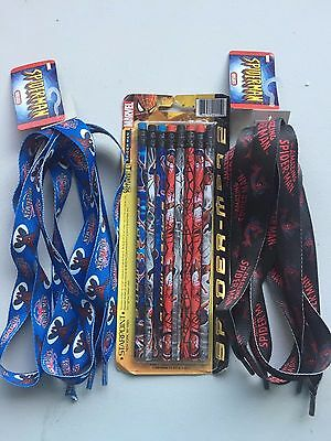 Bnip And Bnwt Lot Of Spider-Man Pencils & 2 Sets Of Shoelaces!!